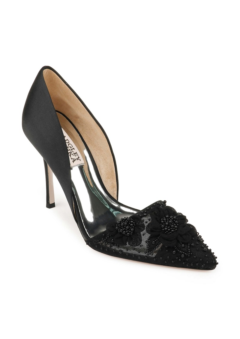 Badgley Mischka Collection Ophelia Beaded Floral Pointed Toe Pump (Women)