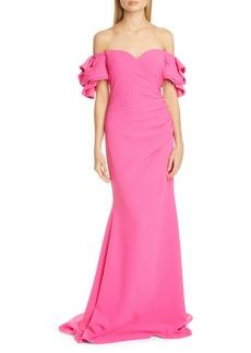 Badgley Mischka Origami Off the Shoulder Gown
