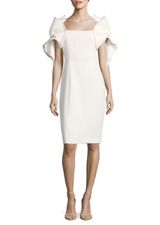Badgley Mischka Origami-Sleeve Dress