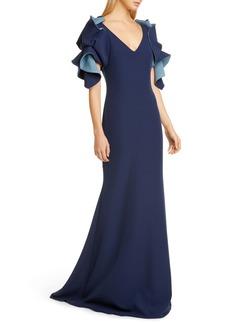 Badgley Mischka Origami Sleeve Trumpet Gown
