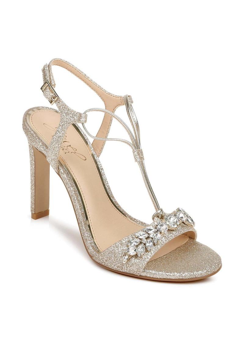 Badgley Mischka Peaches Embellished T-Strap Sandal (Women)