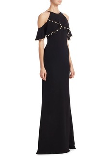 Badgley Mischka Pearl Embellished Gown