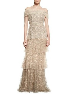 Badgley Mischka Pearly Ombre Tiered Gown