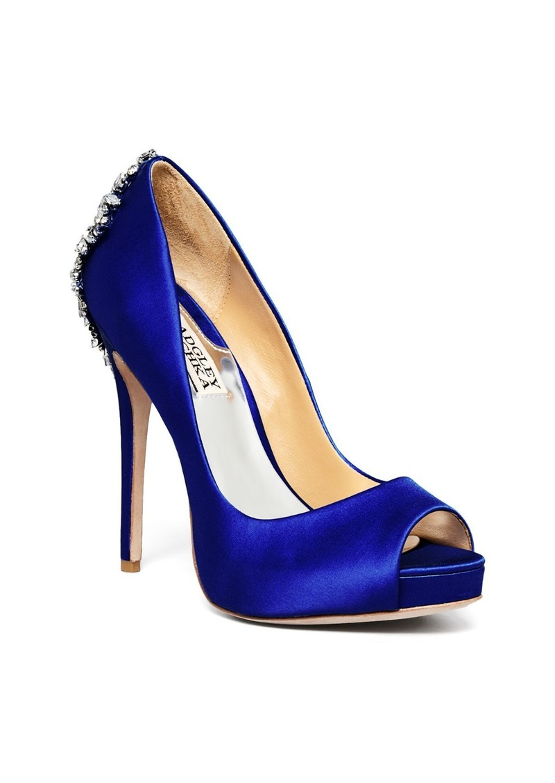 Badgley Mischka Women's Kiara Peep Toe Satin Platform High-Heel Pumps