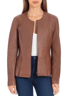 Badgley Mischka Peplum Leather Jacket