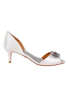 Petrina Satin Brooch Peep-Toe Pumps