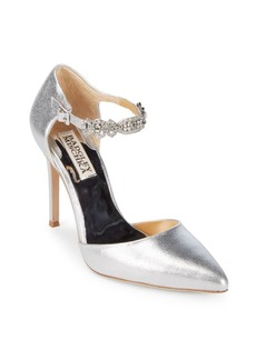 Badgley Mischka Pia II Metallic Leather Evening Pumps