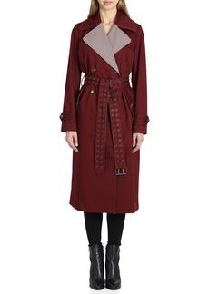 Badgley Mischka Plaid Lapels Trench Coat