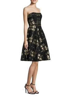 Badgley Mischka Plaid Strapless Fit-&-Flare Dress