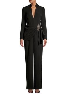 Badgley Mischka Platinum Embellished Long-Sleeve Jumpsuit