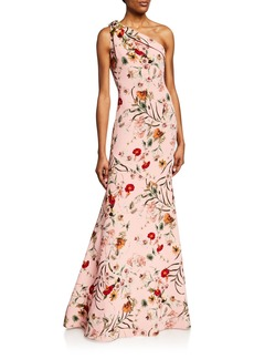 Badgley Mischka Collection Floral-Print One-Shoulder Sleeveless Gown