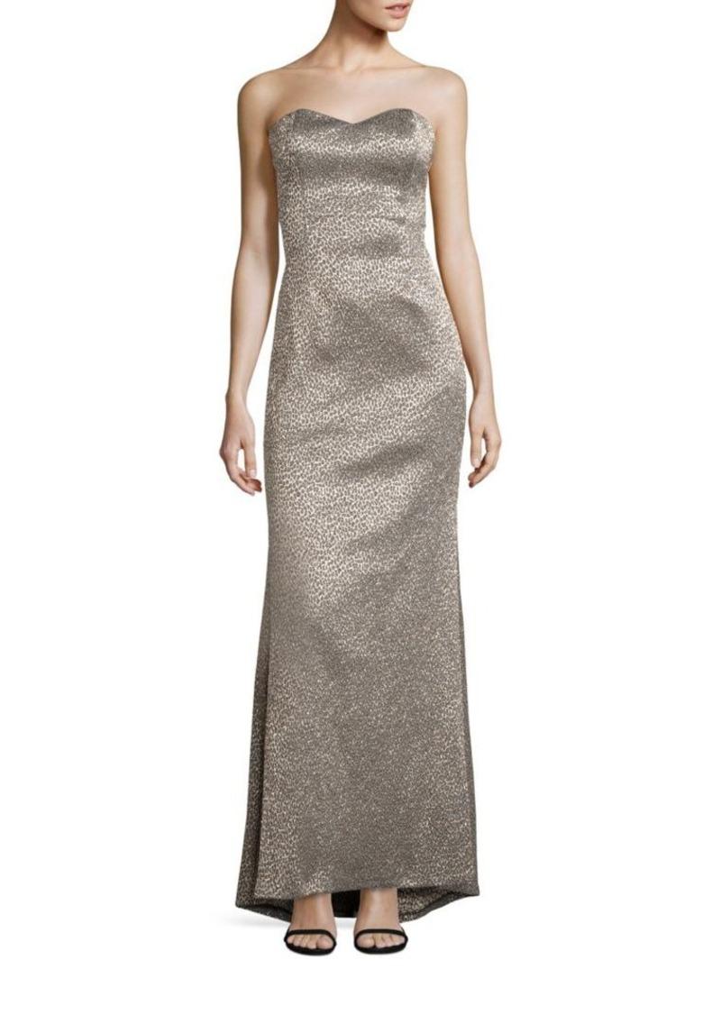 Badgley Mischka Platinum Label Metallic Strapless Evening Gown
