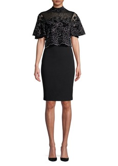 Badgley Mischka Platinum Lace Sheath Dress