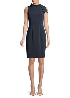 Badgley Mischka Platinum Mock-Tie Sleeveless Dress