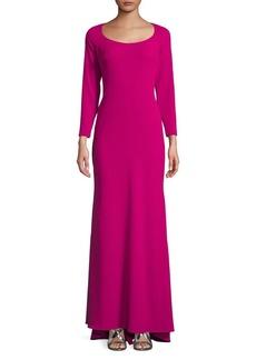 Badgley Mischka Platinum Scoopneck Hi-Lo Gown