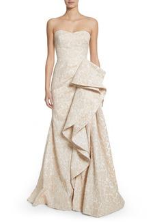 Badgley Mischka Platinum Sculptural Ruffle Gown