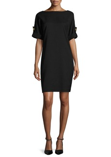 Badgley Mischka Platinum Short-Sleeve Stretch Jersey Cocktail Dress