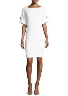 Badgley Mischka Platinum Short-Sleeve Stretch Jersey Cocktail Dress