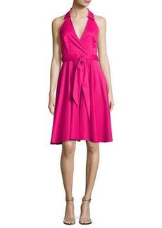 Badgley Mischka Platinum Sleeveless Tie-Waist Wrap Dress