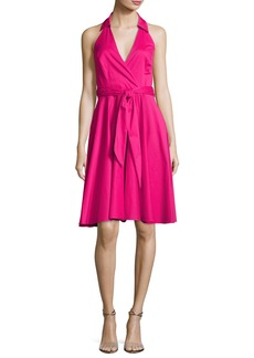 Badgley Mischka Sleeveless Tie-Waist Wrap Dress