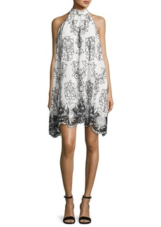 Badgley Mischka Platinum Sleeveless Voile Fleur de Lis Cocktail Dress