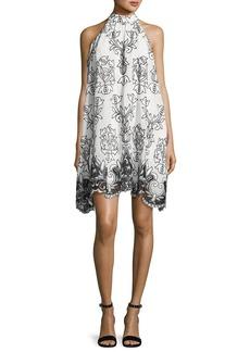Badgley Mischka Platinum Sleeveless Voile Fleur de Lis Cocktail Dress