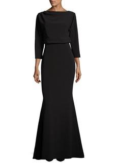 Badgley Mischka Platinum Solid Zippered Dress