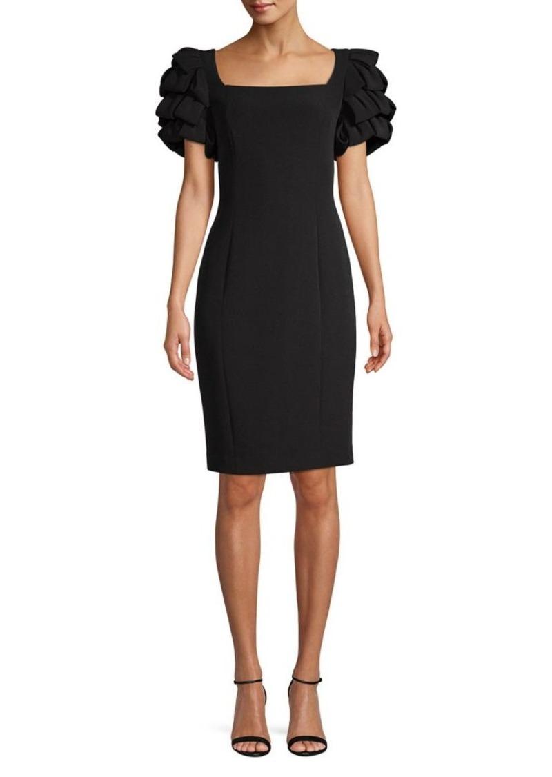 Badgley Mischka Platinum Tiered-Sleeve Sheath Dress