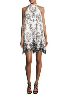 Badgley Mischka Platinum Trapeze Embroidered Dress