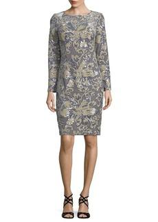Badgley Mischka Platinum Velvet Sheath Dress