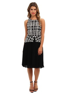 Badgley Mischka Pleated Peplum Print Combo
