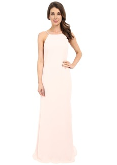 Badgley Mischka Pleated Strap Gown