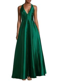 Badgley Mischka Plunge Floor-Length Dress