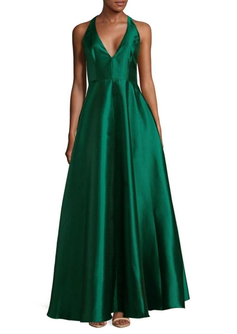 SALE! Badgley Mischka Plunge Floor-Length Dress