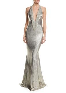 Badgley Mischka Plunging Halter Fringed Metallic Mermaid Evening Gown
