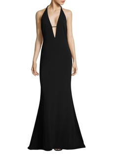 Badgley Mischka Plunging V-Neck Gown
