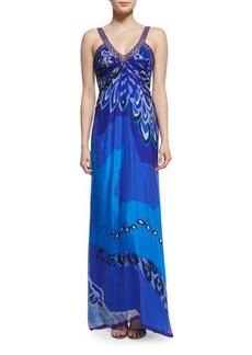 Badgley Mischka Printed Sleeveless V-Neck Gown