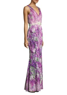 Badgley Mischka Printed Tulle Gown