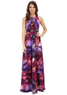 Badgley Mischka Printer Full Back Halter Gown