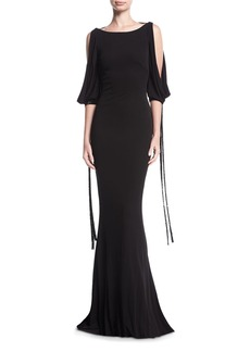 Badgley Mischka Puddle-Hem Draped Tie-Sleeve Jersey Evening Gown