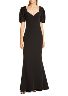 Badgley Mischka Puff Sleeve Crepe Gown