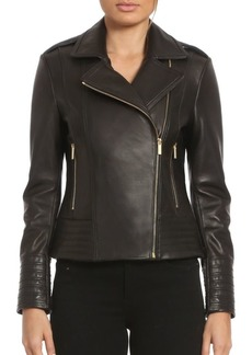 Badgley Mischka Quilted Leather Biker Jacket
