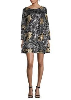 Badgley Mischka Raven Sequined Shift Dress