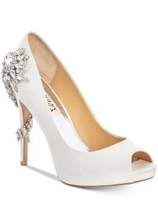 Badgley Mischka Royal Embellished Peep-Toe Evening Pumps Women's Shoes