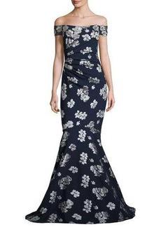 Badgley Mischka Ruched Off-the-Shoulder Floral Ponte Gown
