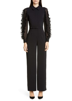 Badgley Mischka Ruffle Long Sleeve Jumpsuit