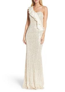 Badgley Mischka Ruffle Sequin One-Shoulder Gown