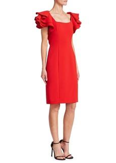 Badgley Mischka Ruffle Sheath Dress