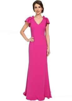 Badgley Mischka Ruffle Sleeve V-Neck Gown