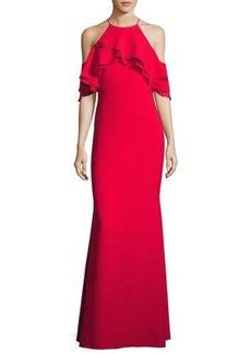 Badgley Mischka Ruffle-Trim Ponte Popover Gown